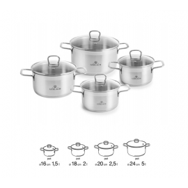 BRAVA Stainless Steel Pot Set With Lids 8 pcs